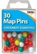 Tiger Pack of 30 Coloured Map Pins